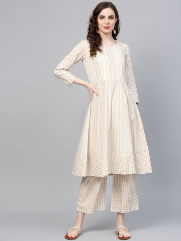 Off White Color Pure Cotton Women's Stitched Kurti - 83873