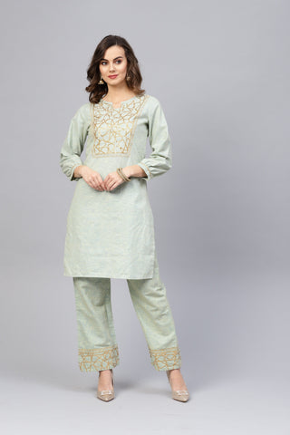 Green Color Pure Cotton Women's Stitched Kurti - 83874