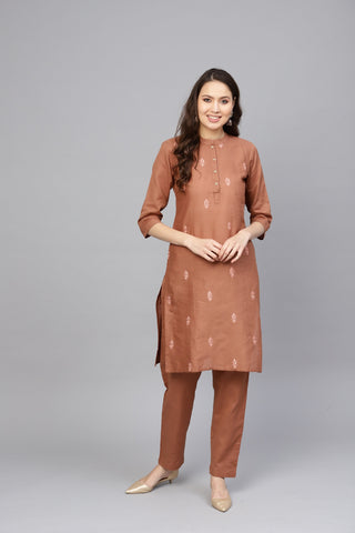 Brown Color Pure Cotton Women's Stitched Kurti - 83875