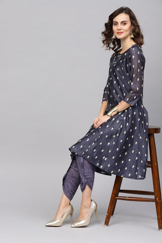 Navy Blue Color Art Silk Women's Stitched Kurti - 83876