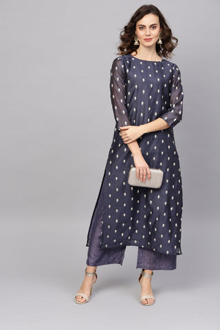 Navy Blue Color Art Silk Women's Stitched Kurti - 83877