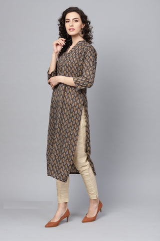 Brown Color Cotton Women's Stitched Kurti - 83878