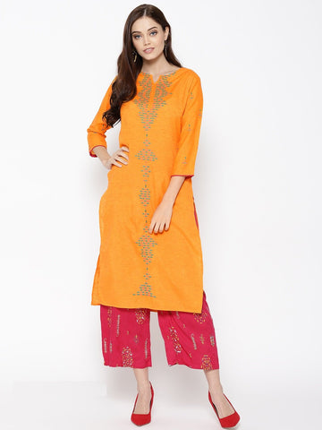 Orange Color Cotton Women's Stitched Kurti - 83883