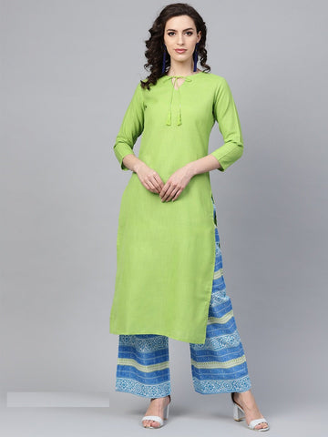 Green Color Cotton Women's Stitched Kurti - 83884