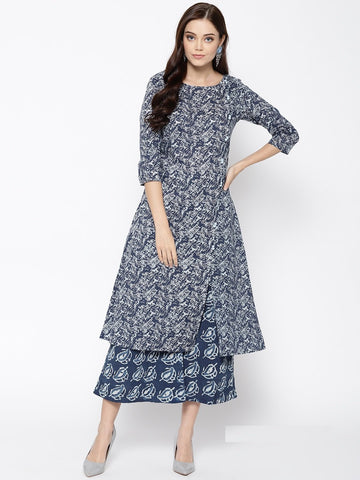 Blue Color Cotton Women's Stitched Kurti - 83886