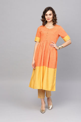 Orange Color Cotton Women's Stitched Kurti - 83887
