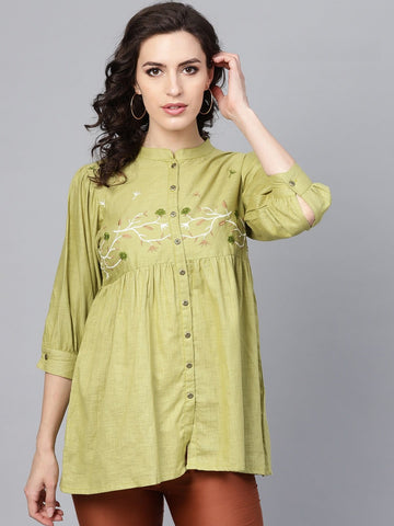 Green Color Cotton Women's Stitched Kurti - 83889