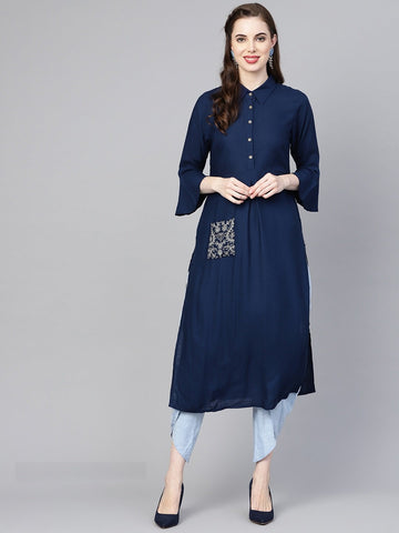 Blue Color Viscose Rayon Women's Stitched Kurti - 83895