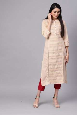 Beige Color Cotton Women's Stitched Kurti - 83897
