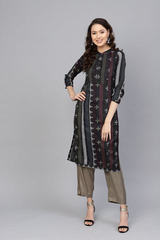 Black Color Polyster Women's Stitched Kurti - 83901