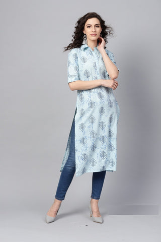 Blue Color Cotton Women's Stitched Kurti - 83904