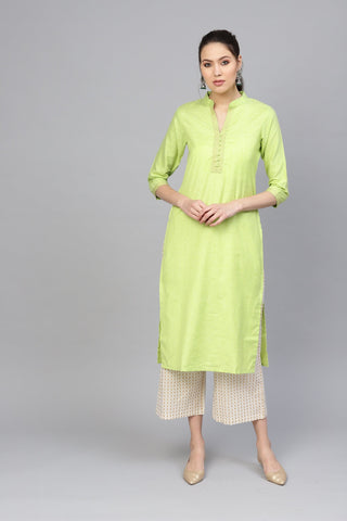 Green Color Cotton Women's Stitched Kurti - 83905