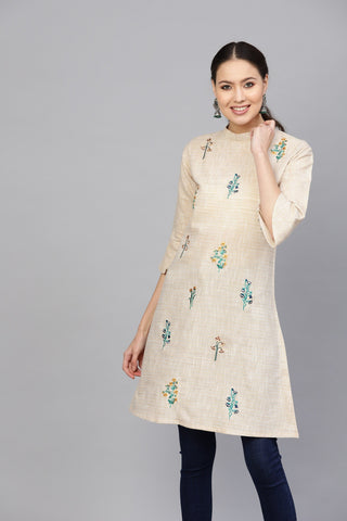 Beige Color Cotton Women's Stitched Kurti - 83907