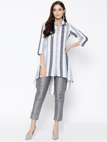 Grey Color Cotton Women's Stitched Kurti - 83908