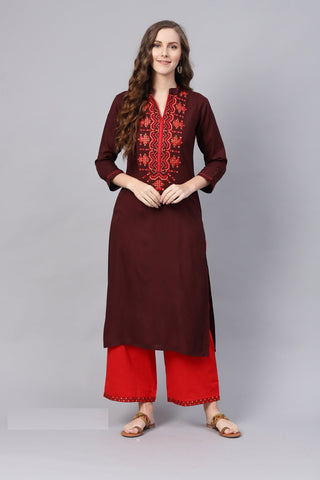 Brown Color Viscose Rayon Women's Stitched Kurti - 83914