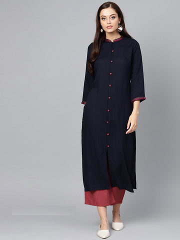 Navy Blue Color Viscose Rayon Women's Stitched Kurti - 83915