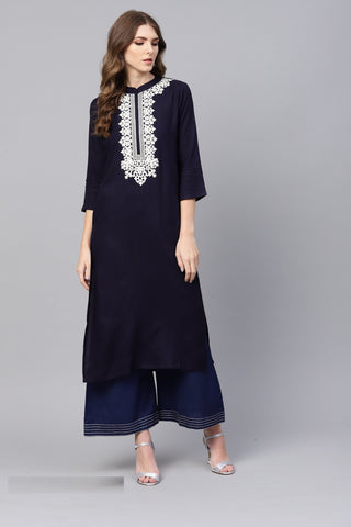 Navy Blue Color Viscose Rayon Women's Stitched Kurti - 83916