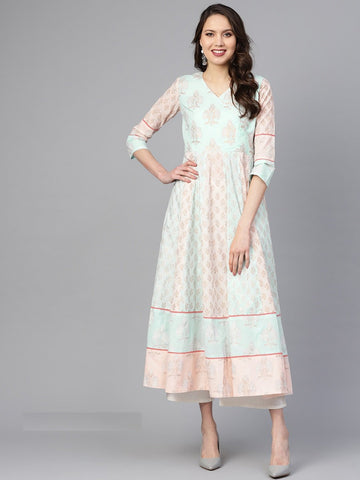 Light Pink Color Cotton Women's Stitched Kurti - 83923
