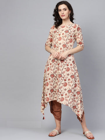 Beige Color Cotton Women's Stitched Kurti - 83924