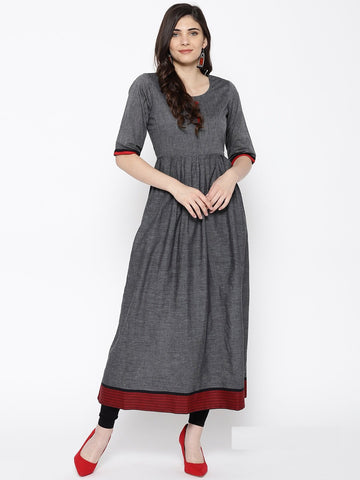 Grey Color Cotton Women's Stitched Kurti - 83926