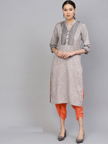 Grey Color Cotton Women's Stitched Kurti - 83927