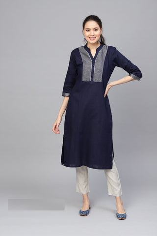 Navy Blue Color Cotton Women's Stitched Kurti - 83928