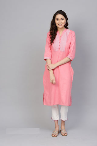 Pink Color Cotton Women's Stitched Kurti - 83929