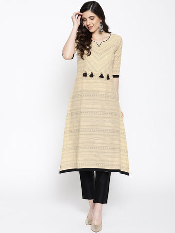 Cream Color Cotton Women's Stitched Kurti - 83930