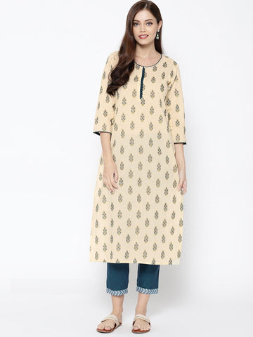Cream Color Cotton Women's Stitched Kurti - 83931