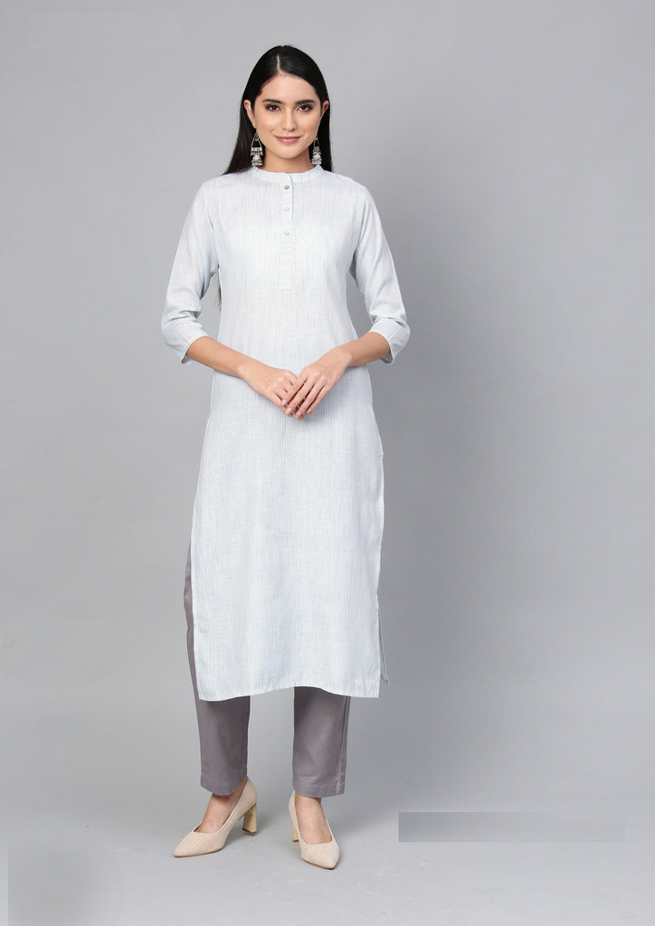 Buy Off White Color Cotton Women's Stitched Kurti