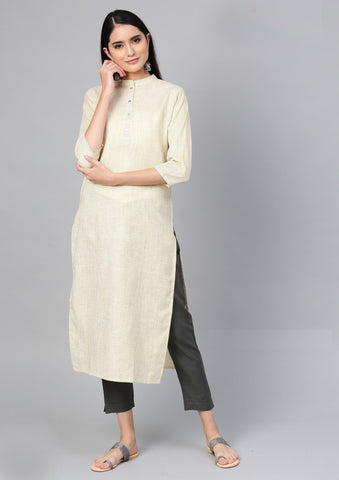 Beige Color Cotton Women's Stitched Kurti - 83933