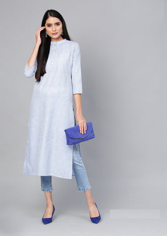 Blue Color Cotton Women's Stitched Kurti - 83934