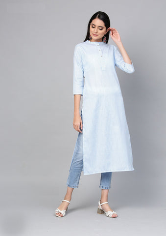 Blue Color Cotton Women's Stitched Kurti - 83935