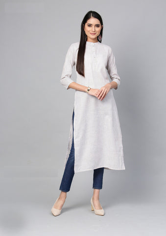 Off White Color Cotton Women's Stitched Kurti - 83936