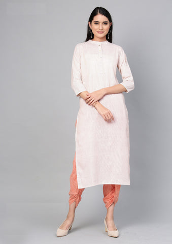 Off White Color Cotton Women's Stitched Kurti - 83937