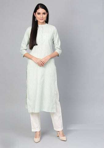 Green Color Cotton Women's Stitched Kurti - 83938