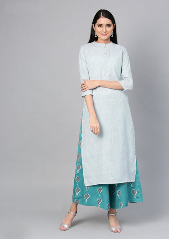 Sea Green Color Cotton Women's Stitched Kurti - 83939