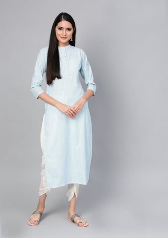 Sea Green Color Cotton Women's Stitched Kurti - 83940