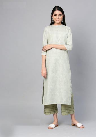 Green Color Cotton Women's Stitched Kurti - 83941