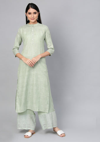 Green Color Cotton Women's Stitched Kurti - 83942