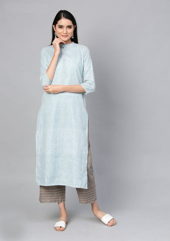 Blue Color Cotton Women's Stitched Kurti - 83943