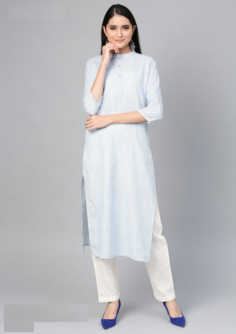 Light Blue Color Cotton Women's Stitched Kurti - 83946