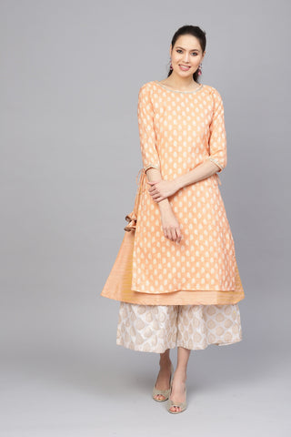 Peach Color Cotton Silk Women's Stitched Kurti - 83947