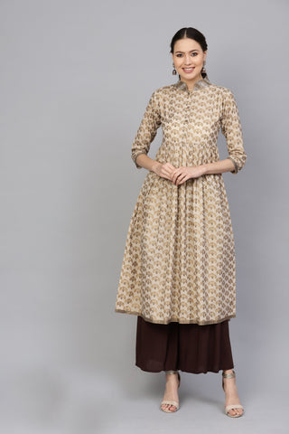 Beige Color Cotton Women's Stitched Kurti - 83948