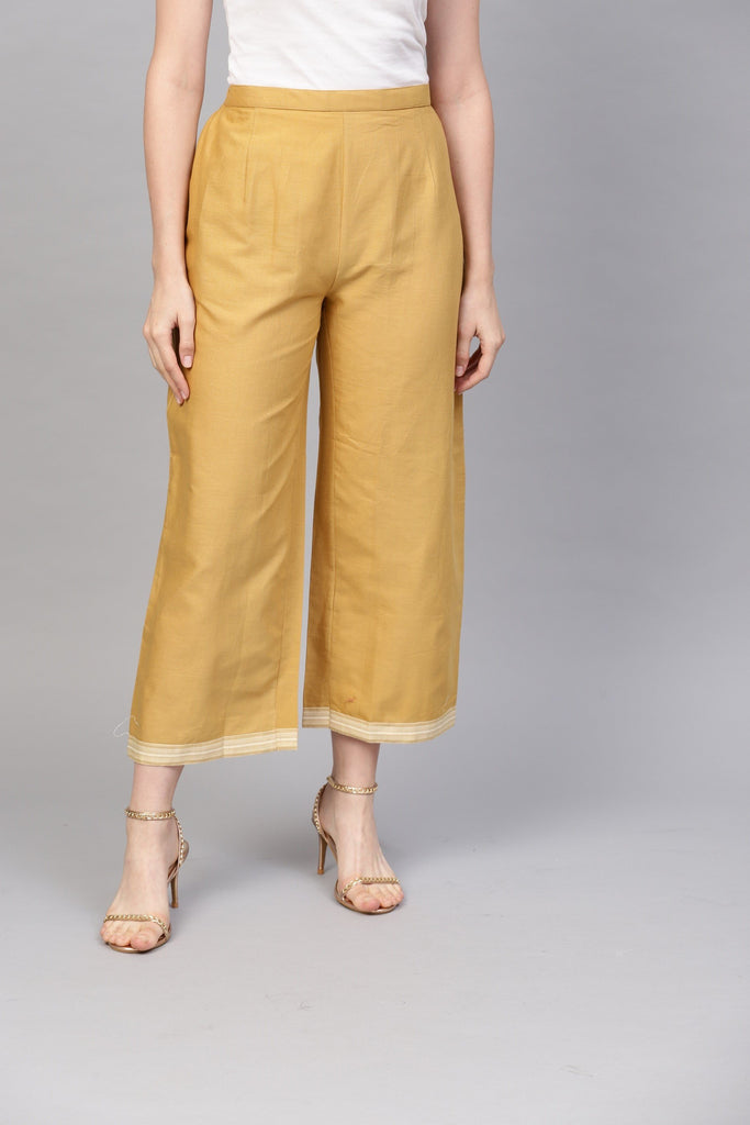 Buy Golden Color Cotton Women's Stitched Palazzo