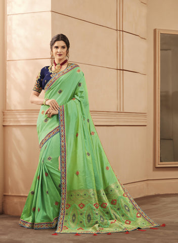 Green Color Heavy Banarasi Silk Women's Saree - 84155