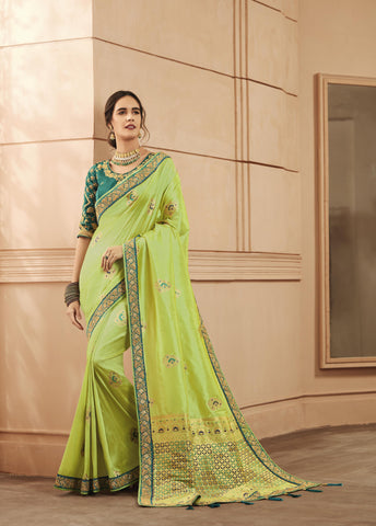 Light Green Color Heavy Banarasi Silk Women's Saree - 84157