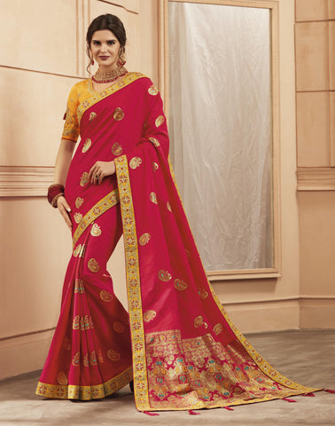 Red Color Heavy Banarasi Silk Women's Saree - 84158