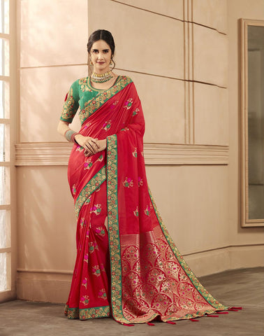 Red Color Heavy Banarasi Silk Women's Saree - 84162