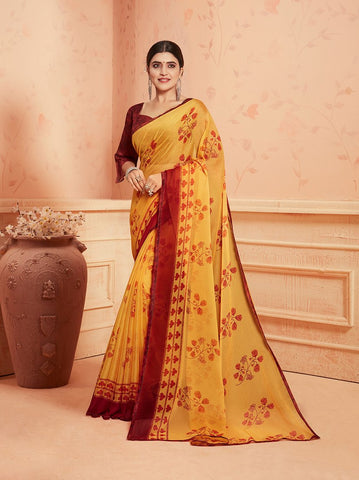Yellow Color Chiffon Georgette Women's Saree - 84165